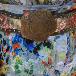 Embossed Leather Medallion Belt